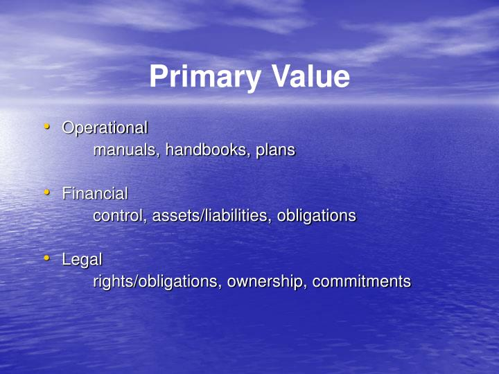 Primary Value