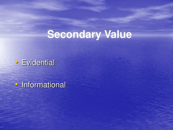 Secondary Value