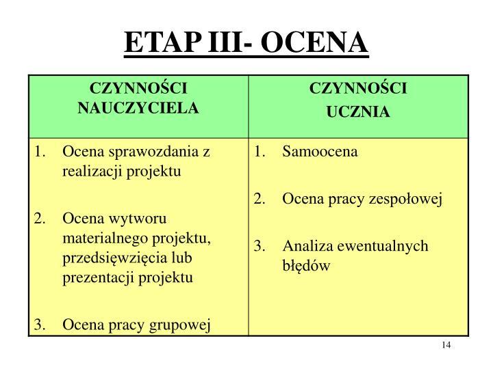 ETAP III- OCENA