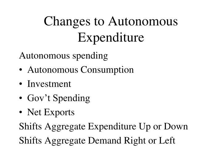 Changes to Autonomous Expenditure