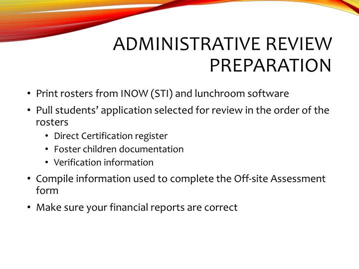 Administrative Review Preparation