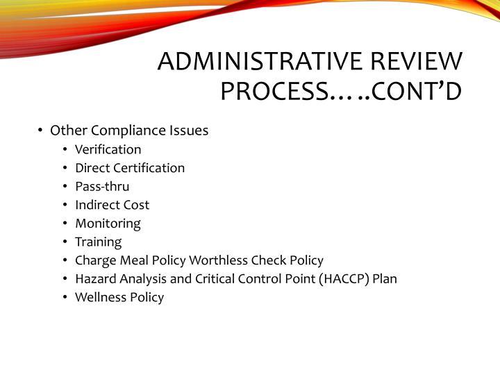 Administrative Review Process…..cont'd