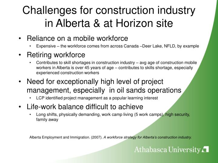 Challenges for construction industry