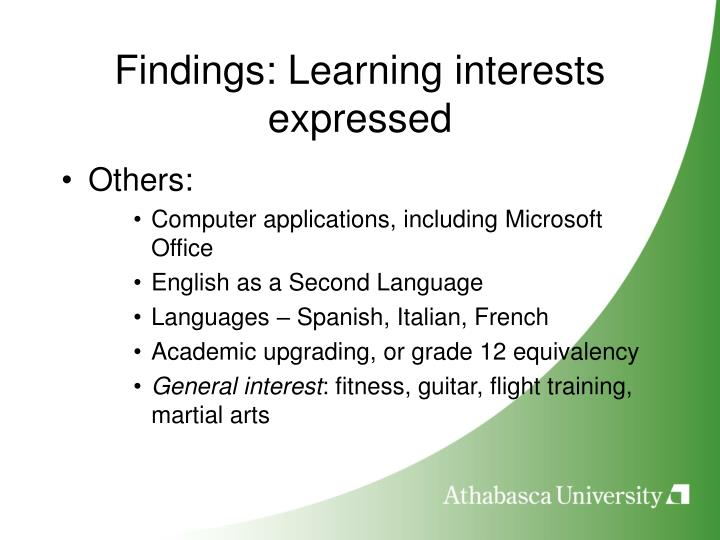 Findings: Learning interests expressed