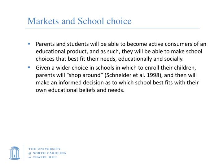 Markets and School choice
