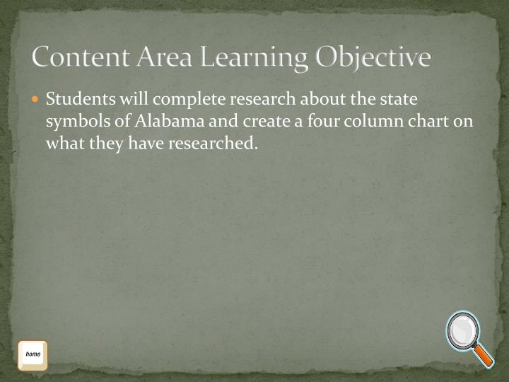 Content Area Learning Objective