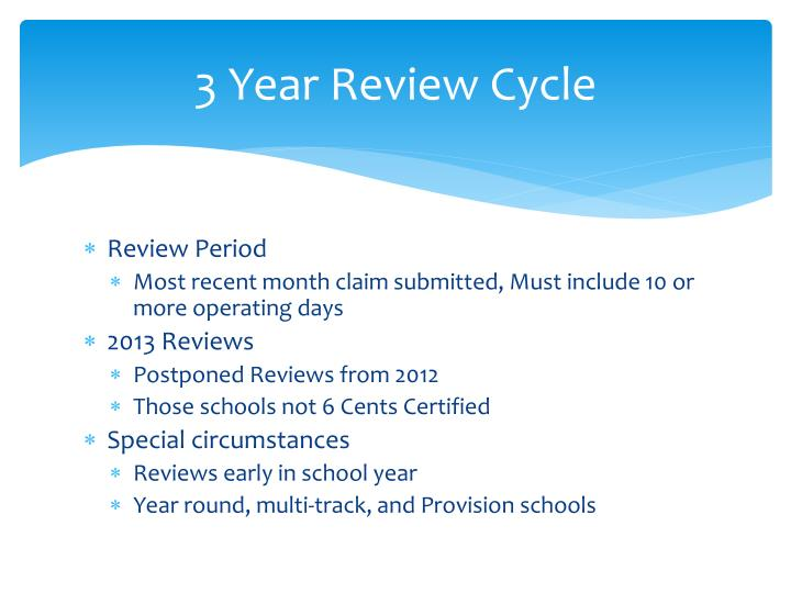 3 Year Review Cycle
