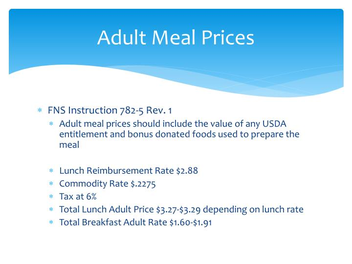 Adult Meal Prices