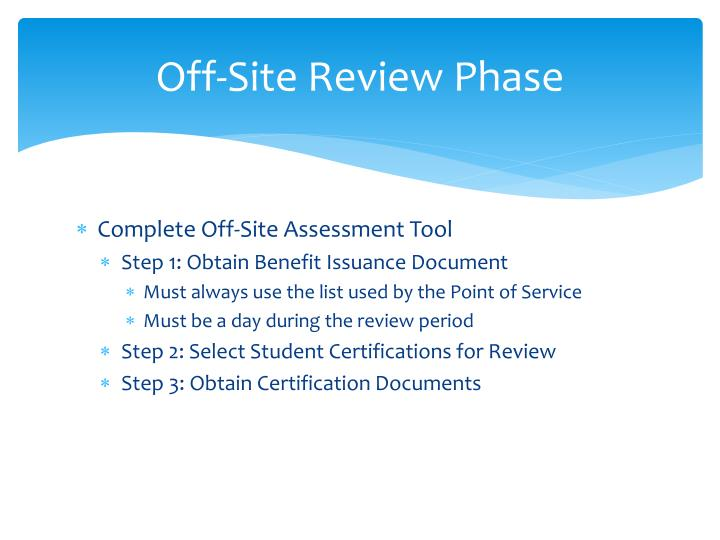 Off-Site Review Phase