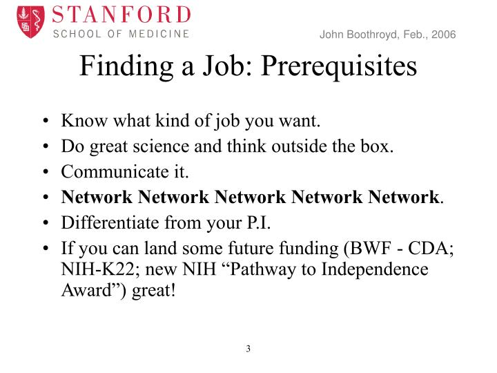 Finding a job prerequisites