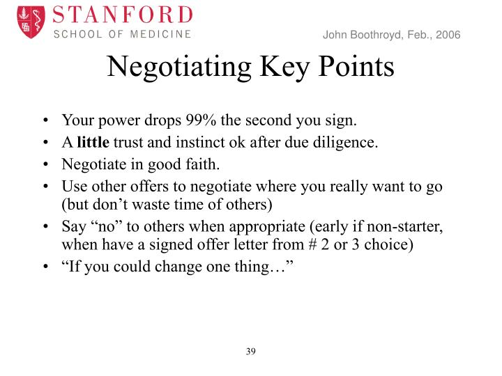 Negotiating Key Points