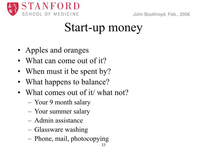 Start-up money