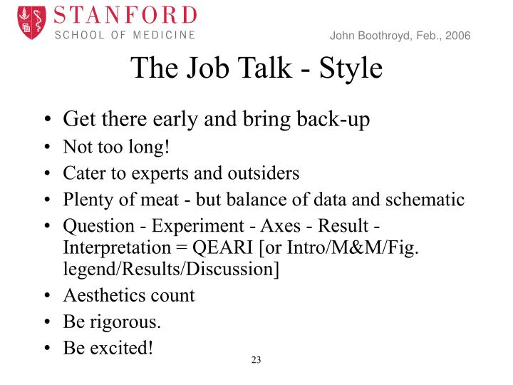 The Job Talk - Style