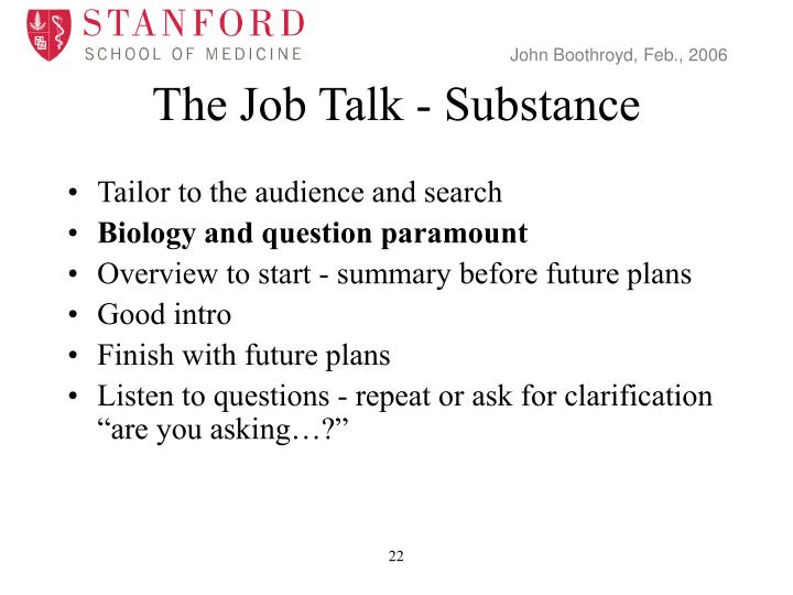 The Job Talk - Substance