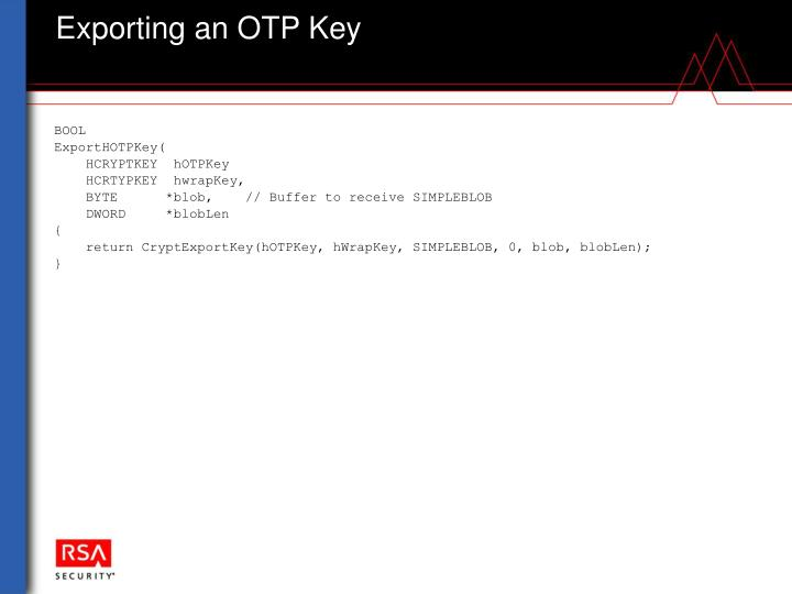 Exporting an OTP Key