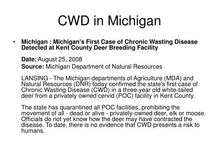 CWD in Michigan