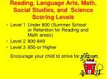 reading language arts math social studies and science scoring levels
