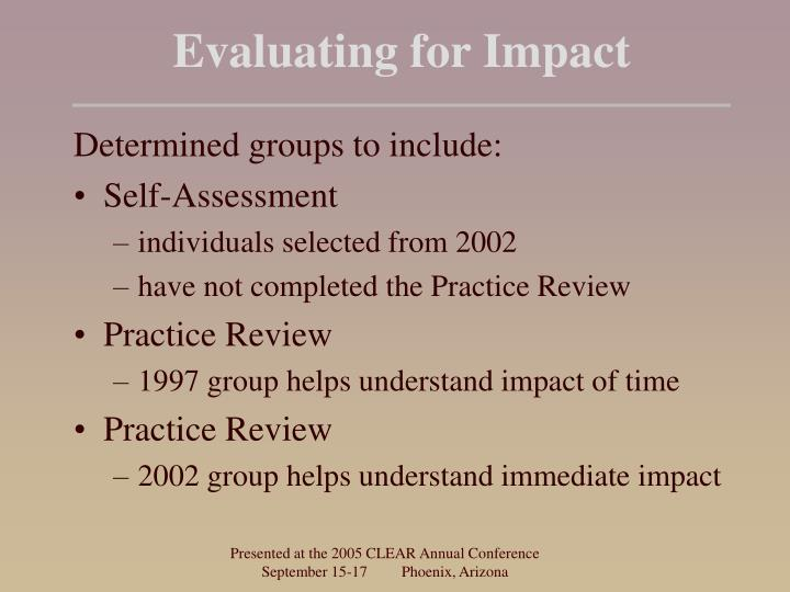 Evaluating for Impact