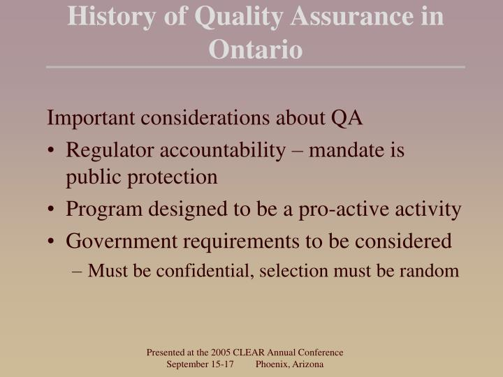 History of Quality Assurance in Ontario
