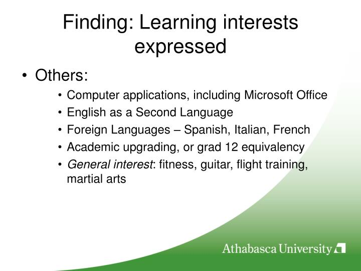 Finding: Learning interests expressed