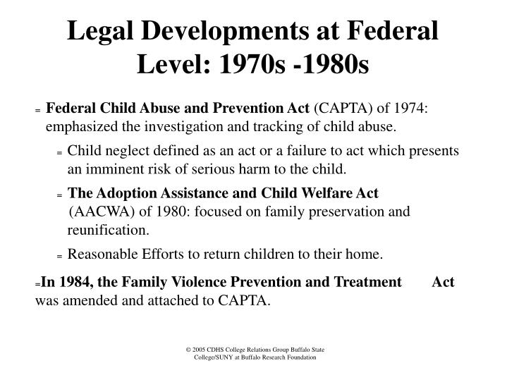 Legal Developments at Federal Level: 1970s -1980s