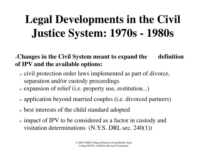 Legal Developments in the Civil Justice System: 1970s - 1980s