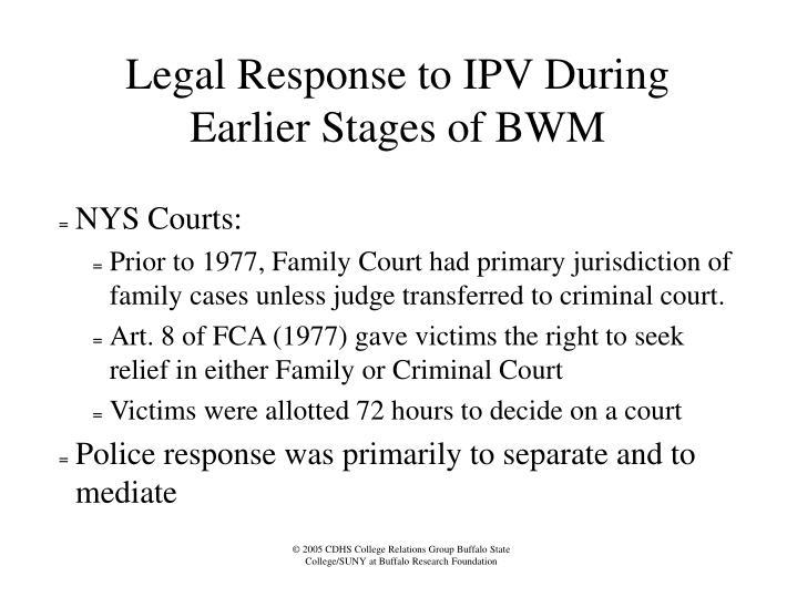 Legal Response to IPV During