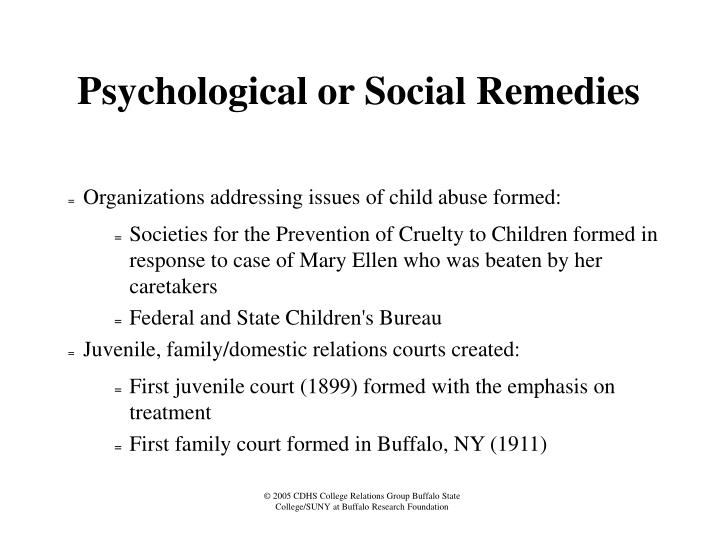 Psychological or Social Remedies