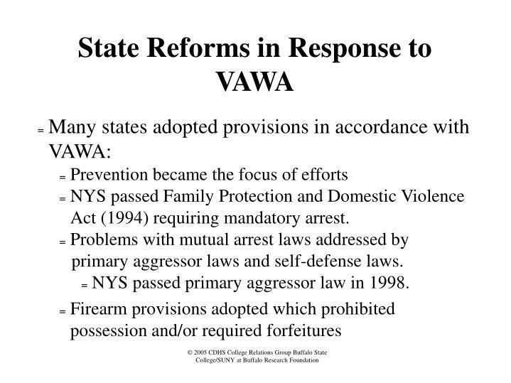 State Reforms in Response to VAWA