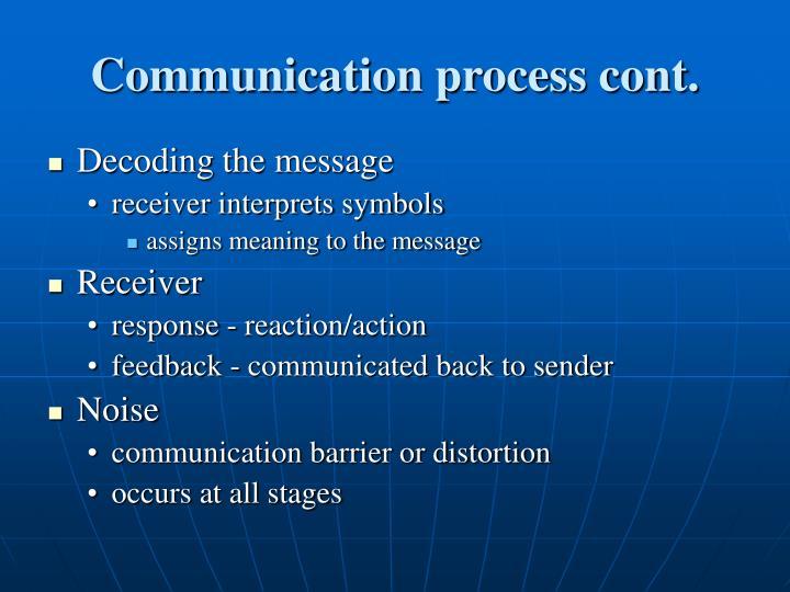Communication process cont.