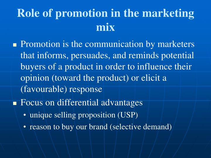 Role of promotion in the marketing mix