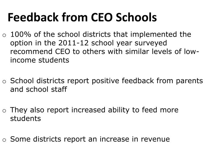 Feedback from CEO Schools