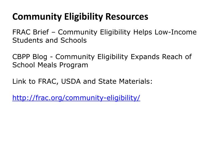 Community Eligibility Resources