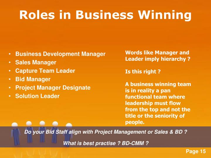 Roles in Business Winning