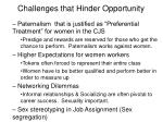 challenges that hinder opportunity