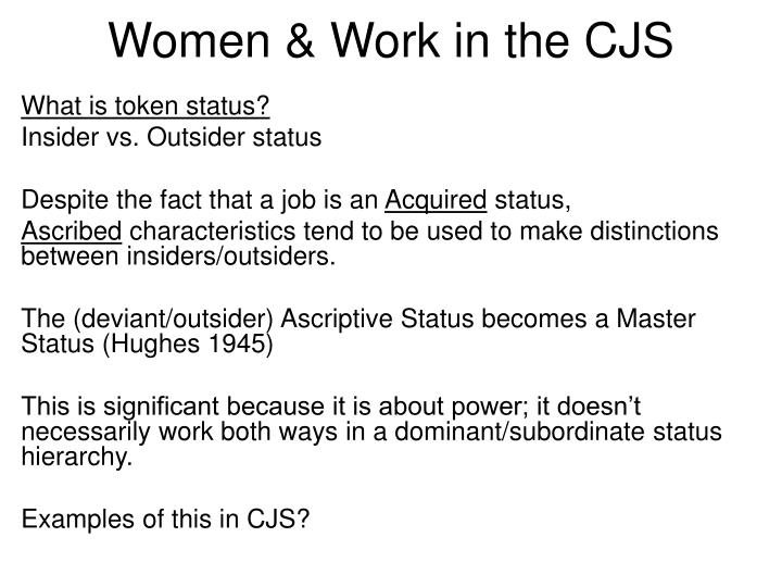 Women & Work in the CJS
