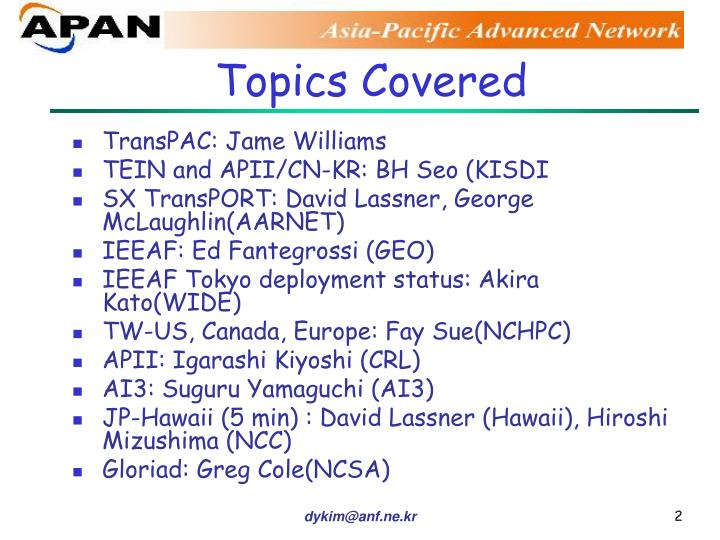 Topics Covered