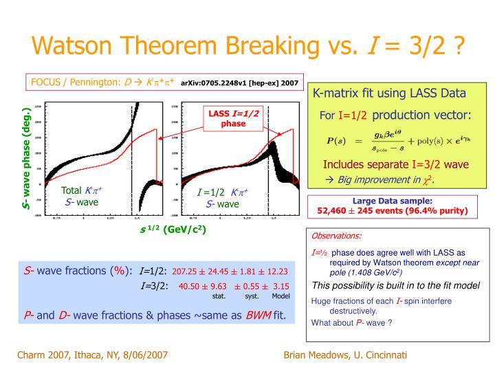 Watson Theorem Breaking vs.