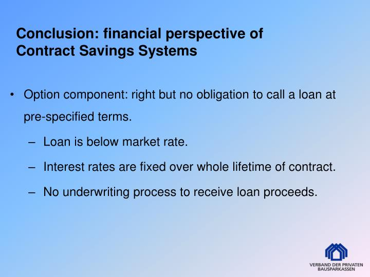 Conclusion: financial perspective of Contract Savings Systems