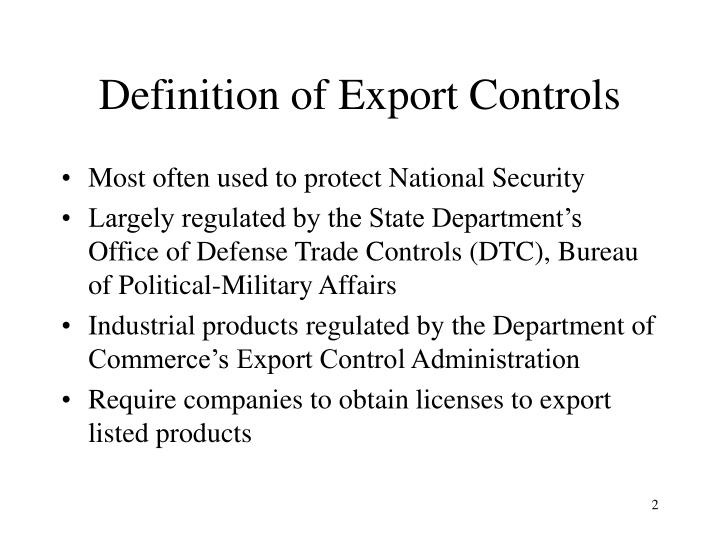 Definition of export controls