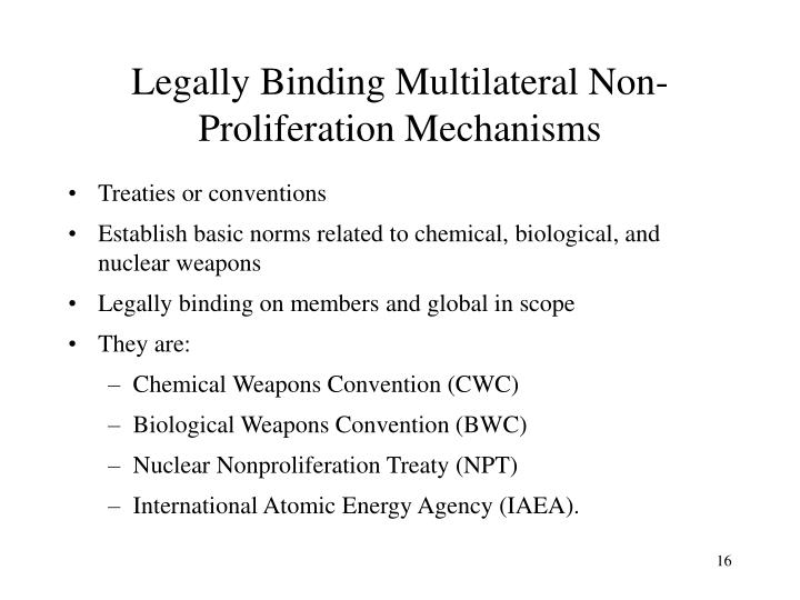 Legally Binding Multilateral Non-Proliferation Mechanisms