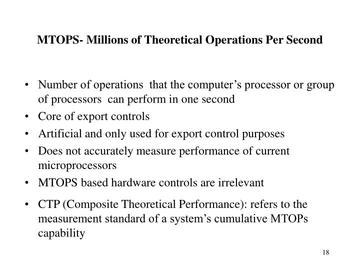 Number of operations  that the computer's processor or group of processors  can perform in one second