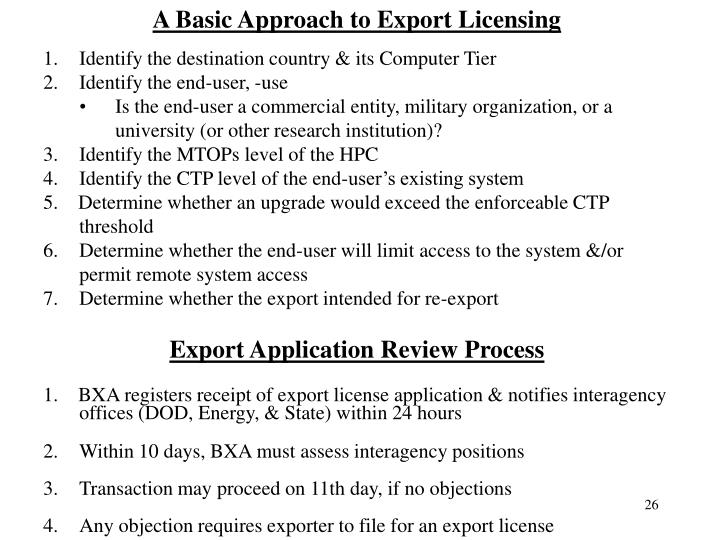 A Basic Approach to Export Licensing