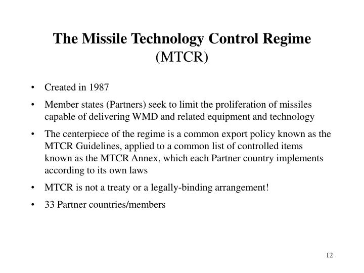 The Missile Technology Control Regime