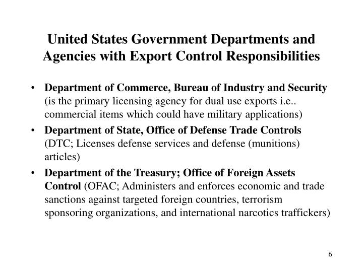 United States Government Departments and Agencies with Export Control Responsibilities