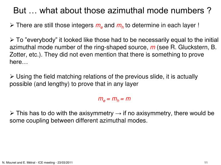 But … what about those azimuthal mode numbers ?