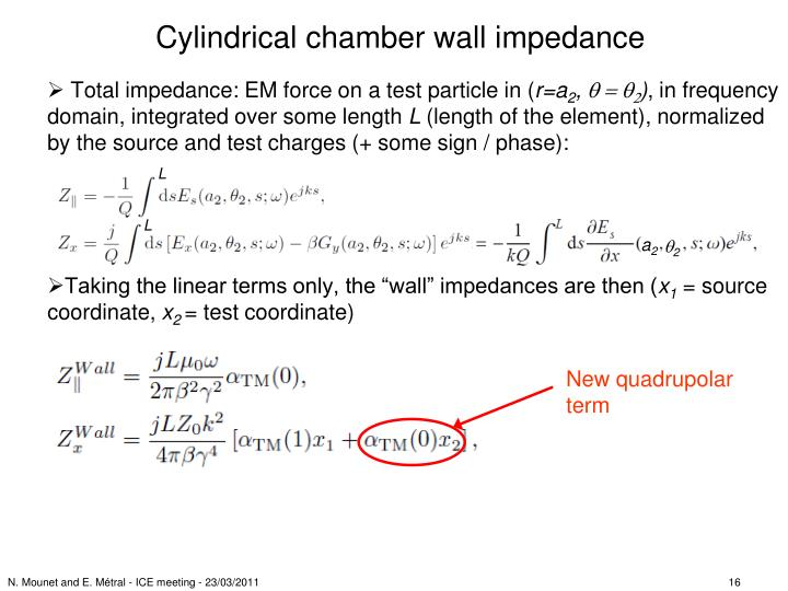 Cylindrical chamber wall impedance