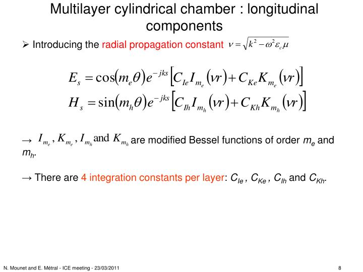 Multilayer cylindrical chamber : longitudinal components