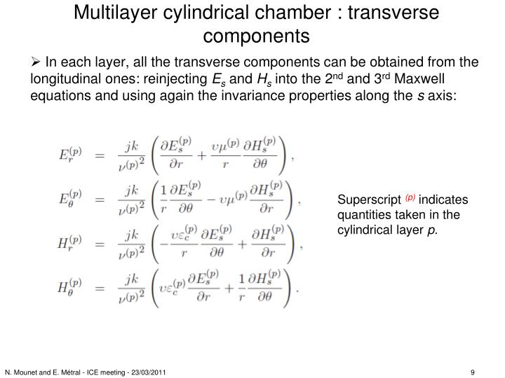 Multilayer cylindrical chamber : transverse components