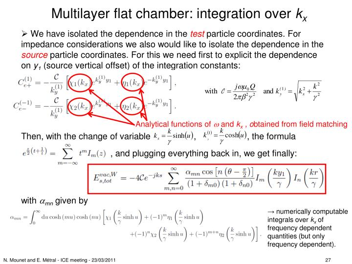 Multilayer flat chamber: integration over